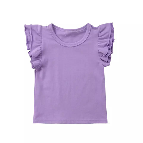 Girls Purple Frill Sleeve Top