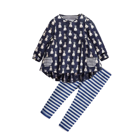 Girls Navy Long Sleeve Bunny Dress & Pants Set
