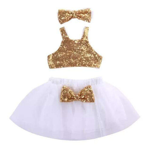 Girls White & Gold Tutu Outfit