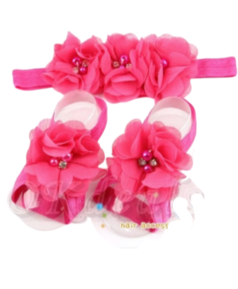 Baby Girls Ribbon Shoes & Headband Set Pink