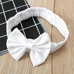 Baby Girls White & Gold Bow Lace Dress