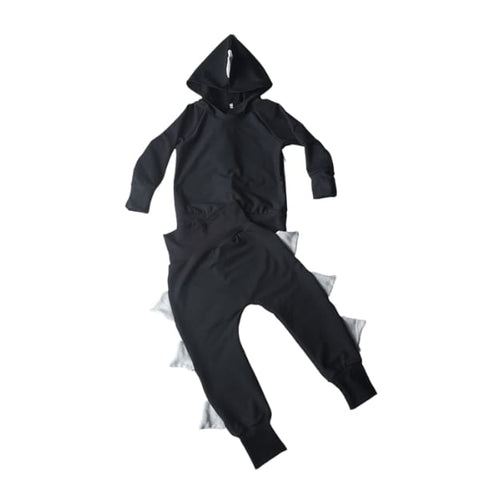 Dinosaur Trim Tracksuit Set Black & Charcoal