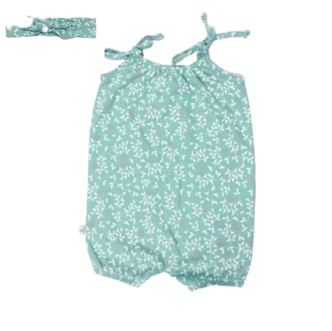 Baby Girls Aqua Playsuit & Matching Headband