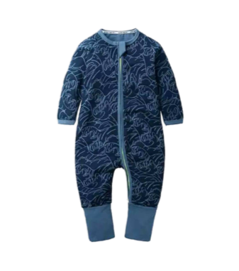 Boys Navy Waves Print Babygrow