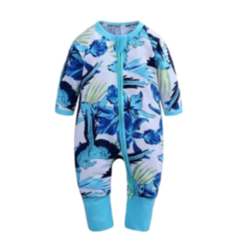 Baby Girls Blue Floral Babygrow
