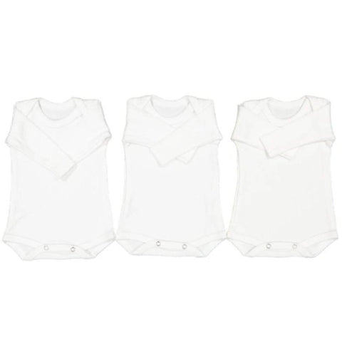 Babygrow 3 Piece Cotton Bodyvest Set White-Babygrow-Little Things