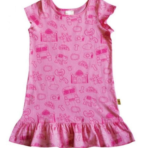 Dress Scribble Print Pink-Dress-Little Things