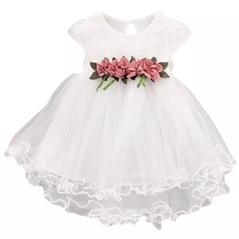 Dress White Floral Trim-Dress-Little Things