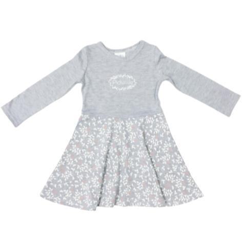 Dress Winter Grey Floral Print-Long sleeve dress-Little Things