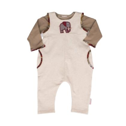 Dungaree Elephant Set-Long sleeve shirt and pants-Little Things
