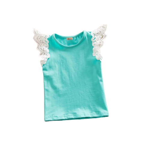 Girls Aqua Lace Sleeve Tops