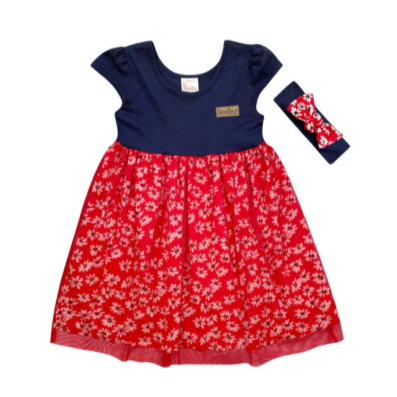 Girls Red Tulle Daisy Dress