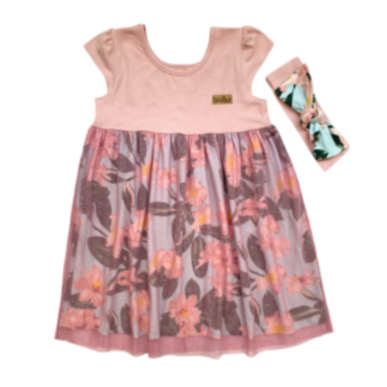 Girls Pink Floral Tulle Dress