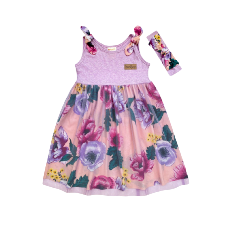 Girls Purple Botanical Tulle Dress