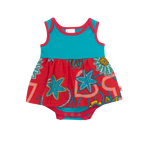 Baby Girls Red & Teal Romper
