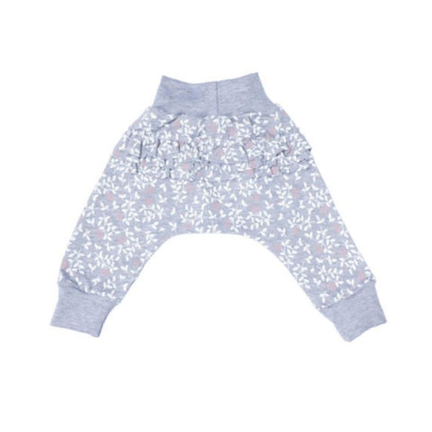 Grey Floral Print Frill Pants-Pants-Little Things