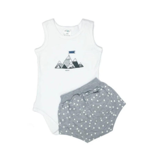Grey Mountain Set-Babygrow & Short-Little Things