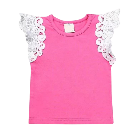 Girls Pink Lace Sleeve Tops