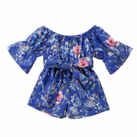 Girl's Blue Floral Jumpsuit
