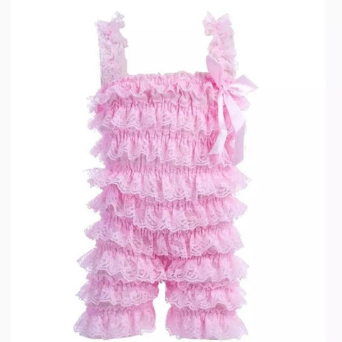 Lace Ruffle Romper Light Pink-Lace Romper-Little Things
