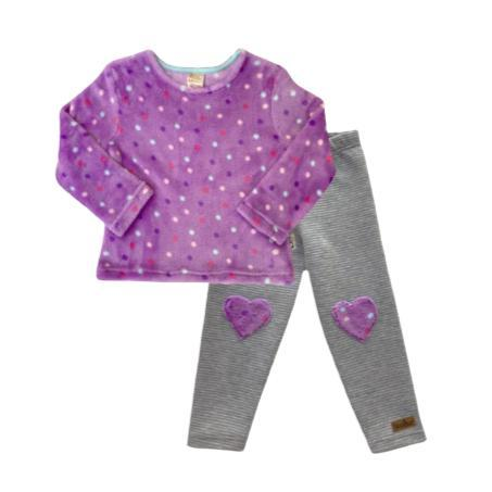 Lilac Dotty Winter Fleece Set-Long sleeve shirt and pants-Little Things