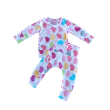 Pajamas Fleece Winter Hearts-Tracksuit-Little Things