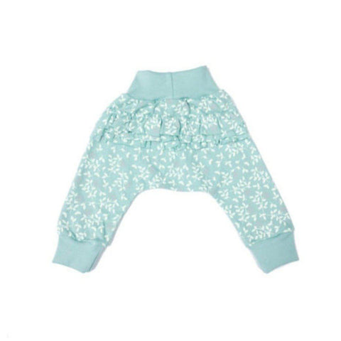 Pickalilly Aqua Floral Print Frill Pants-Pants-Little Things