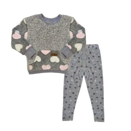 Pink & Grey Winter Fleece Set-Long sleeve shirt and pants-Little Things