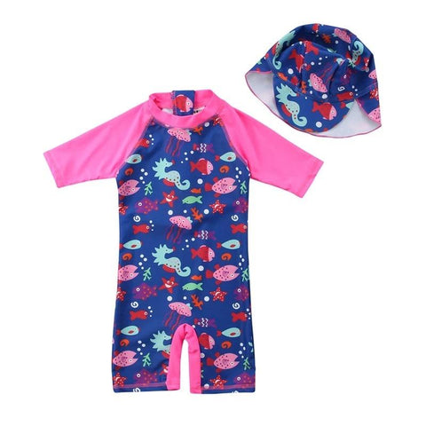 Pink Sea Life Swimsuit & Hat-Swimsuit-Little Things