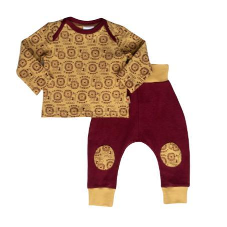 Set Mustard & Maroon-Long sleeve shirt and pants-Little Things