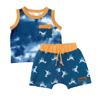 Boys Dino Cycle Short & Vest Set