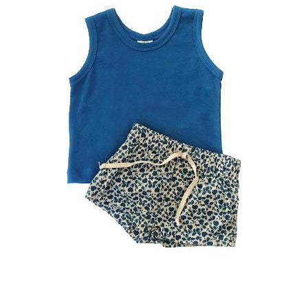 Summer Set Teal Vest & Floral Shorts-Vest & Shorts-Little Things