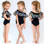 Swimsuit Black Floral Frill & Headband-Girls One Piece Costume-Little Things