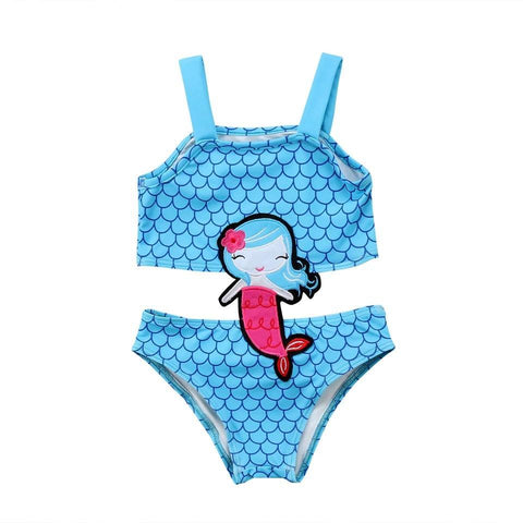 Swimsuit Blue Mermaid-Girls One Piece Costume-Little Things