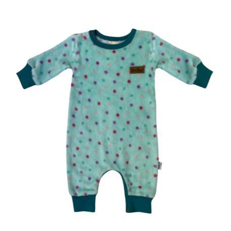 Winter Fleece Babygrow Aqua Dots-Fleece Babygrow-Little Things