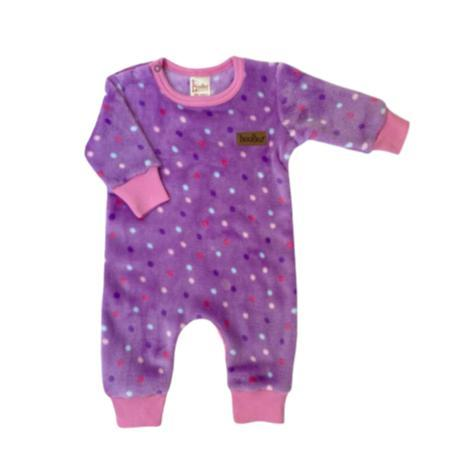 Winter Fleece Babygrow Lilac Dots-Fleece Babygrow-Little Things