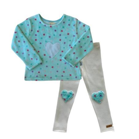 Winter Set Aqua Dotty Fleece-Long sleeve shirt and pants-Little Things