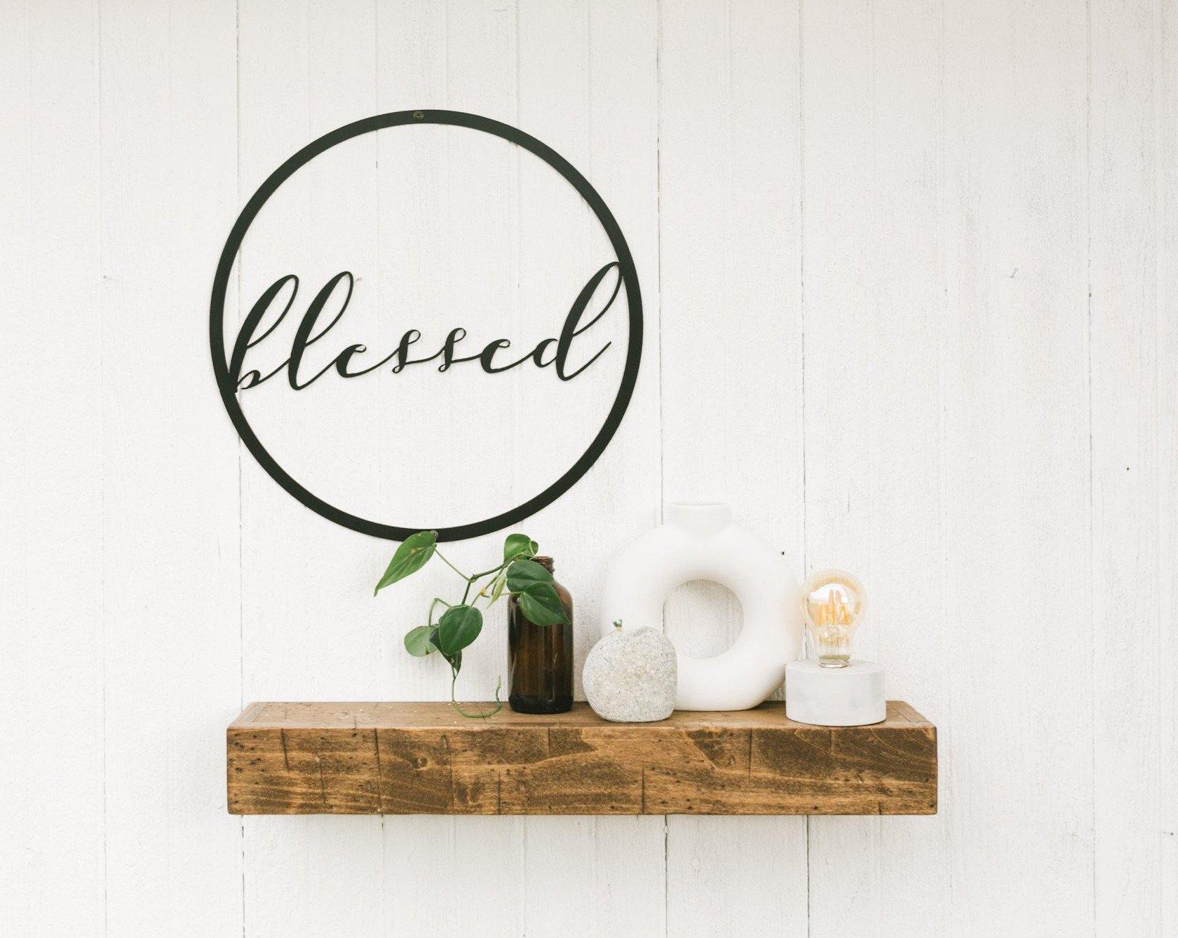 Metal Sign- Blessed - Timber Made Design Co