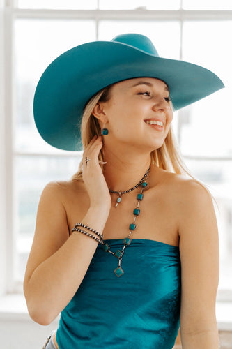Turquoise and Chain Lariat with Earrings