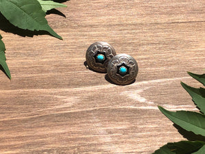 Vintage Hopi Sterling Silver and Turquoise Shadowbox Concho Earrings
