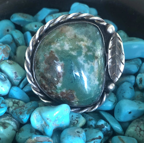 Vintage Turquoise large Green Cabochon Ring