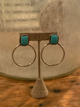Load image into Gallery viewer, Stamped Turquoise Hoop Earrings