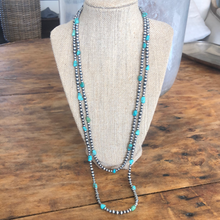Load image into Gallery viewer, Turquoise and Navajo Pearl Necklace