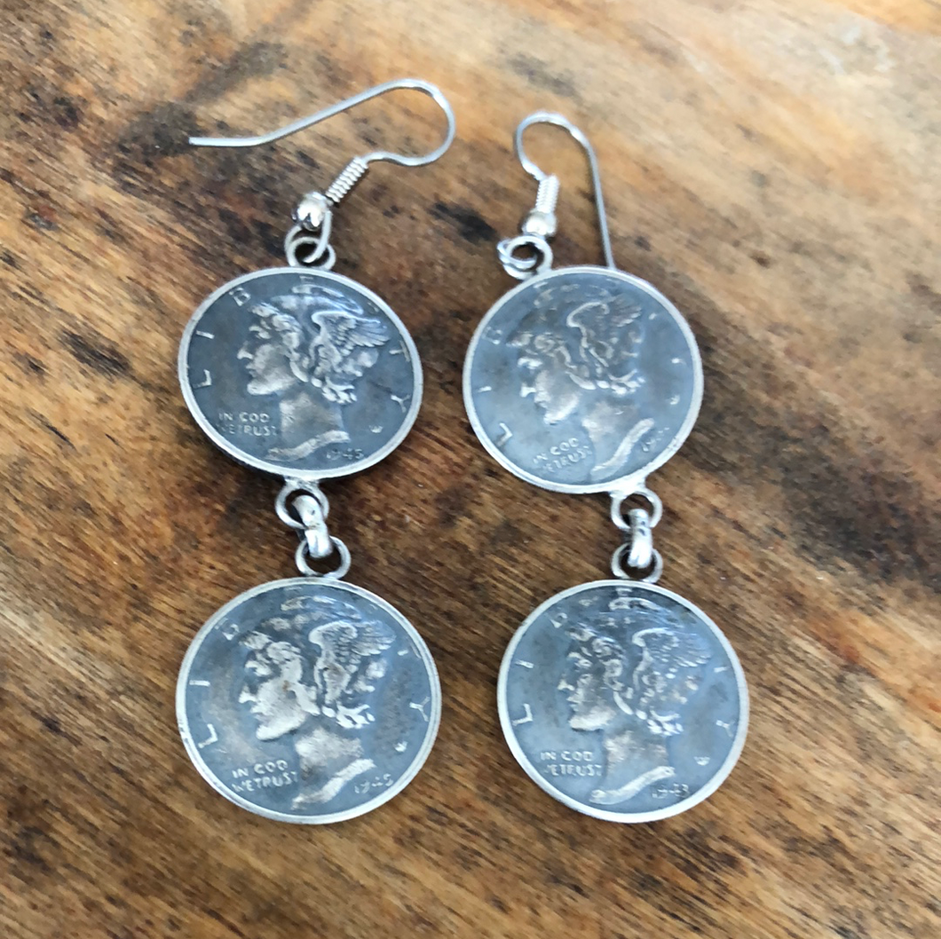 Double Coin Dangle Earrings
