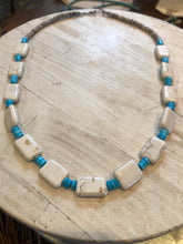 Load image into Gallery viewer, Geometric White Buffalo With Rolled Turquoise and Shell Heishi Beads