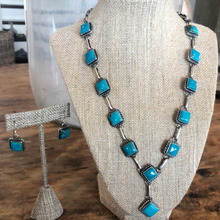 Load image into Gallery viewer, Turquoise and Chain Lariat with Earrings