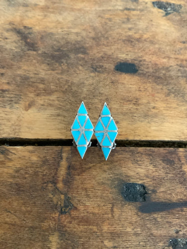 Vintage Inlay Clip On Earrings