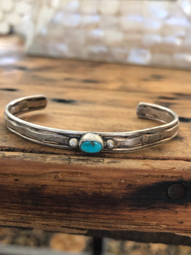 Tiny Turquoise Vintage Cuff