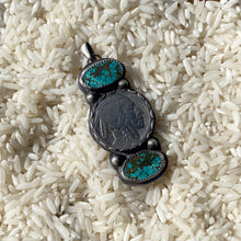 Load image into Gallery viewer, Turquoise and Nickel Pendant
