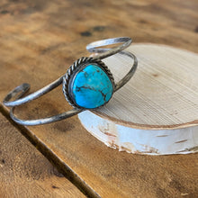 Load image into Gallery viewer, Vintage Turquoise Cuff with Rope Detail